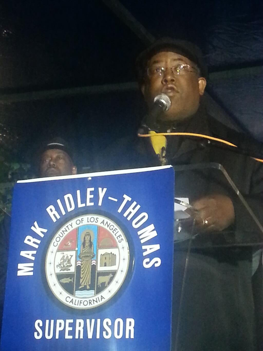 L.A. County Supervisor Mark Ridley-Thomas addresses the crowd against trafficking of children. (photo: Najee Ali/November 21, 2013)