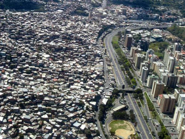 An aerial view of a slum in Caracas
