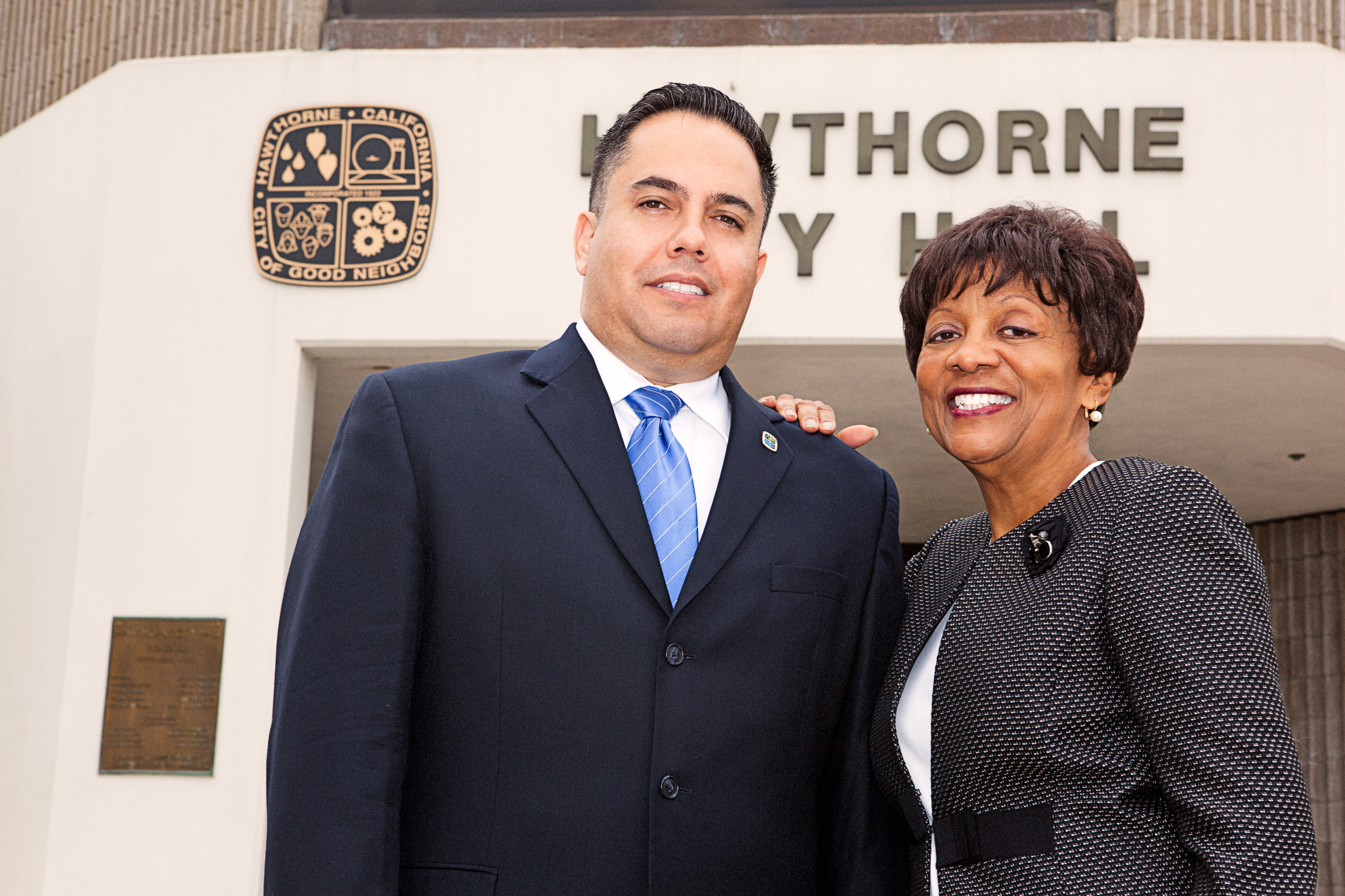 Mayor Alex Vargas and returning council woman Oliva Valentine