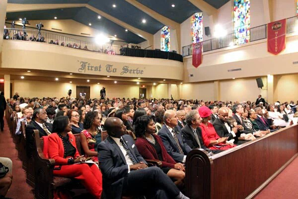 Former Sheriff Lee Baca attends Black History Month program at First AME church, Tuesday, February 9, 2016.