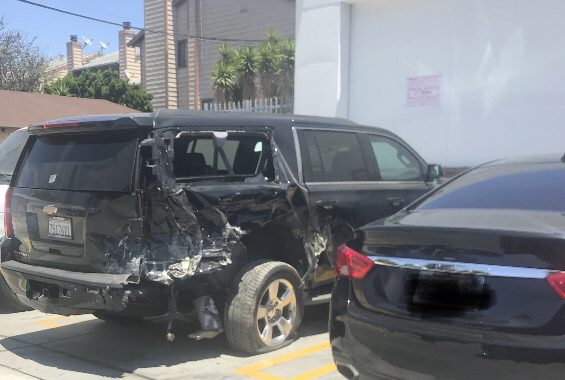 2016 Chevy Tahoe damaged by Mayor Butts