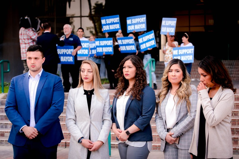 From left, Don Smith, Jackie Aboud, Karen Cervantes, Mirna Cisneros, and Alissa Payne have accused the San Bernardino Mayor John Valdivia of abusing his power, speak out during a press conference in front of the San Bernardino City Hall on Thursday, Feb. 27, 2020. (Photo by Watchara Phomicinda, The Press-Enterprise/SCNG)