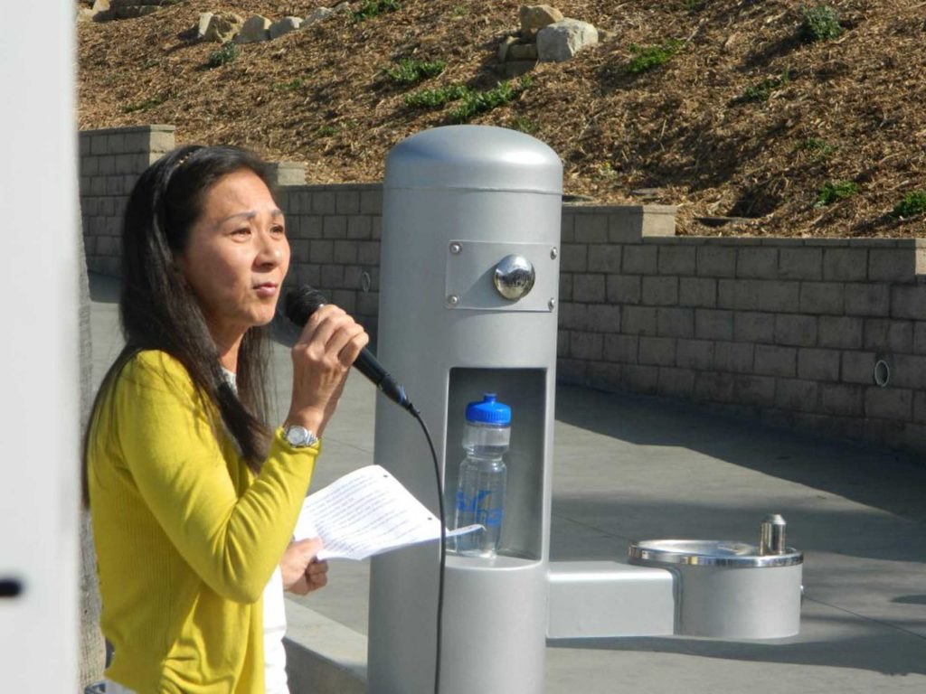 Carol Kwan, West Basin Water District Board of Director, at a water bottle filling station in Manhattan Beach.