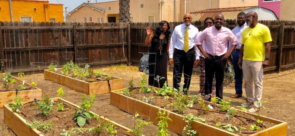 Councilman Marqueece Harris-Dawson tours the community garden at St. Mark's United Methodist Church. (courtesy photo)