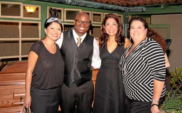 from left, wearing theme black and white dress code:   Long Beach City Council members Lena Gonzalez, Al Austin, Suzie Price and Long Beach Board of Education member Megan Kerr.